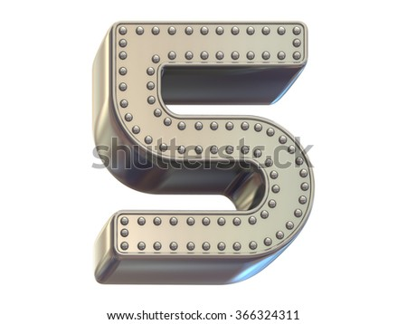 riveted metal number five font - stock photo