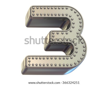 riveted metal number three font - stock photo