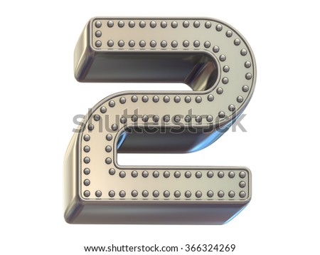 riveted metal number two font - stock photo