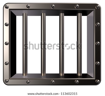riveted metal prison window - 3d illustration - stock photo