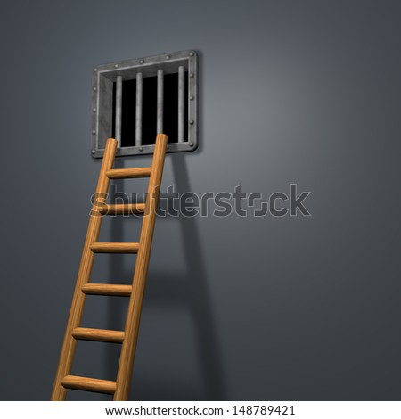 riveted steel prison window and wooden letter - 3d illustration - stock photo