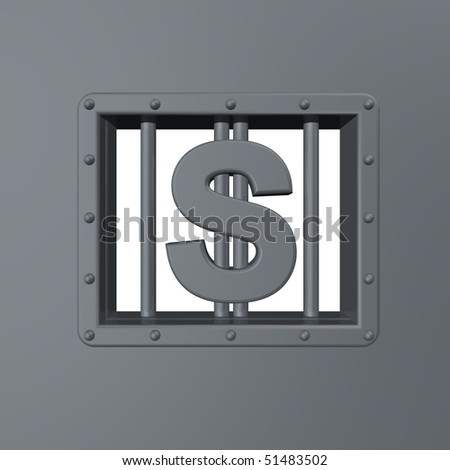 riveted steel prison window with dollar symbol - 3d illustration - stock photo