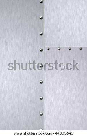 Rivets in brushed steel background. Copy space. - stock photo