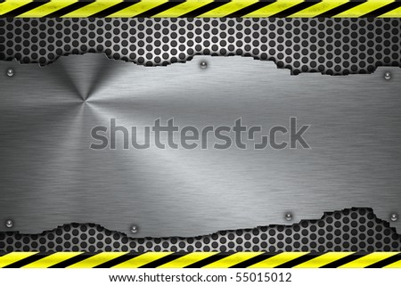 Rivets in brushed steel background. Yellow and black construction border - stock photo
