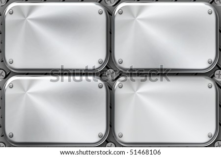 Rivets in brushed steel plates - stock photo
