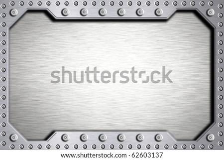 Rivets in metal shape. Copy space - stock photo