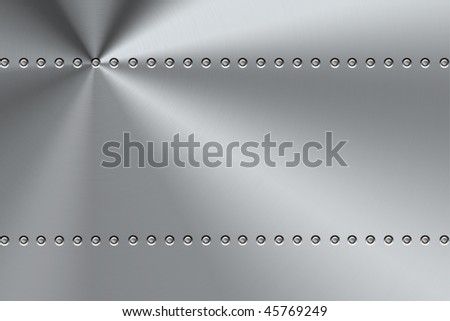 Rivets on brushed steel background. - stock photo