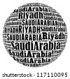 Riyadh capital city of Saudi Arabia info-text graphics and arrangement concept on white background (word cloud) - stock photo