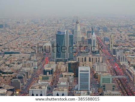 RIYADH - FEBRUARY 29: Aerial view of Riyadh downtown on February 29, 2016 in Riyadh, Saudi Arabia.  - stock photo