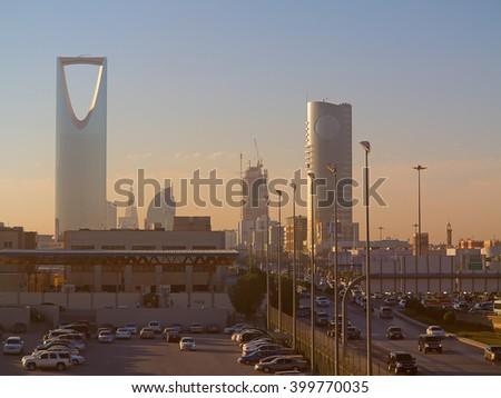 RIYADH - FEBRUARY 29: Early morning in Riyadh downtown on February 29, 2016 in Riyadh, Saudi Arabia.  - stock photo