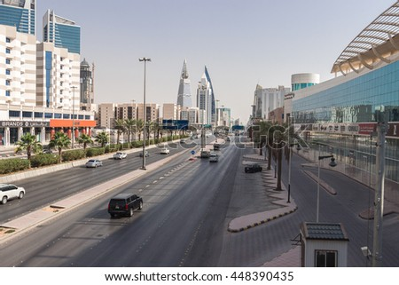 RIYADH, SAUDI ARABIA - OCTOBER 15, 2015. Landscape view at Al Faisaliah tower and other skyscrapers in Riyadh, view from King Fahd road - main street and highway road in Riyadh