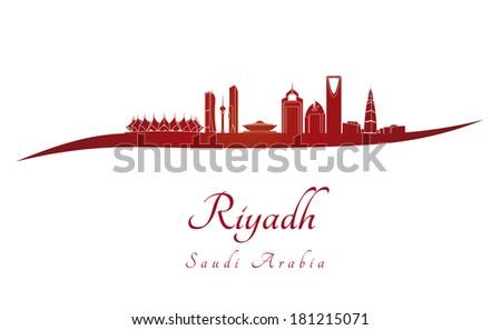 Riyadh skyline in red - stock photo