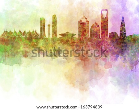Riyadh skyline in watercolor background with clipping path - stock photo