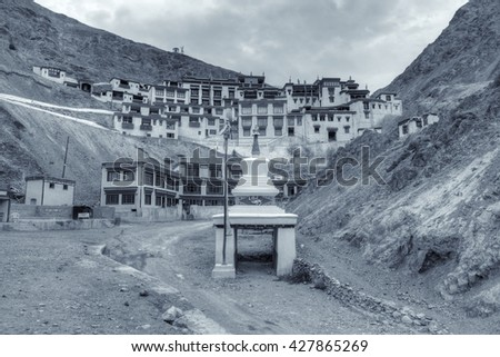 Rizong monastery with view of Himalayan mountians - it is a famous Buddhist temple in,Leh, Ladakh, Jammu and Kashmir, India. Black and white stock image - stock photo