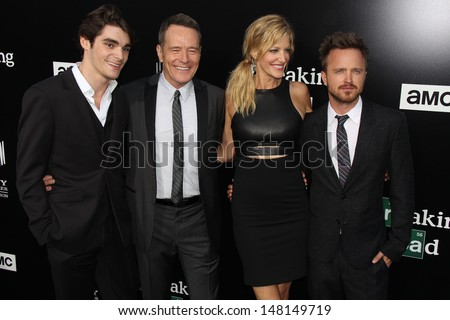 "RJ Mitte, Bryan Cranston, Anna Gunn and Aaron Paul at the ""Breaking Bad"" Special Premiere Event, Sony Studios, Culver City, CA 07-24-13 - stock photo"