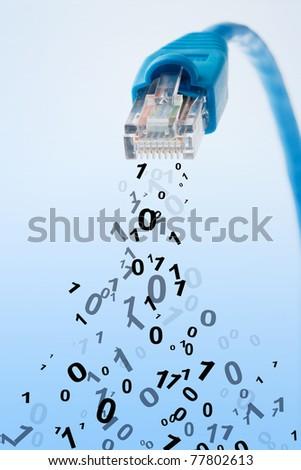 RJ45 network plug with falling digital information - stock photo