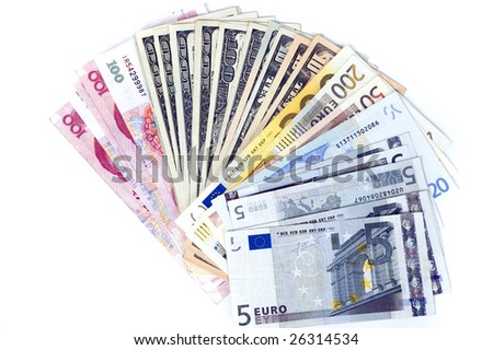 RMB, dollars and euro - banknotes in shape of fan. Photo of different banknotes, money in different shapes and colors. Useful for financial, economic backgrounds.
