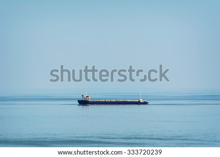 Ro-Ro Cargo Ship in the Black Sea - stock photo