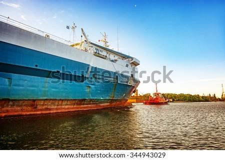 Ro-ro ship entering to port of Gdansk, Poland. - stock photo