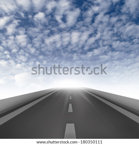 Road ahead on blue sky background, road to the success - stock photo