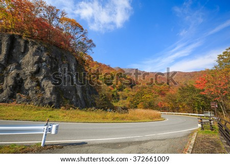 Road along the mountain with leaves turning color - Nikko, Japan