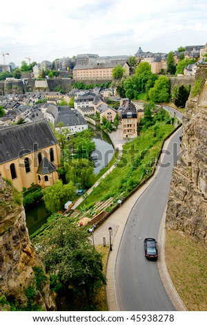 Road along the rocks in luxembourg - stock photo
