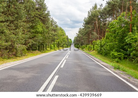 Road among forest in a cloudy day
