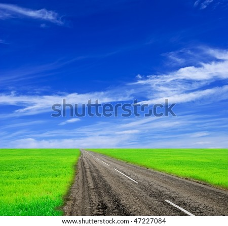 road among the green fields