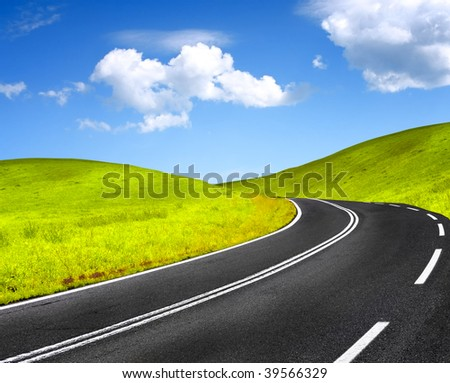 Road and blue sky - stock photo
