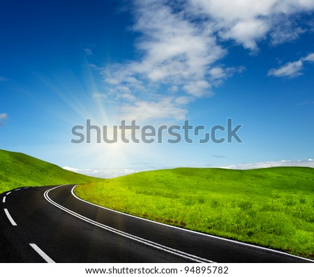 Road and blue sky