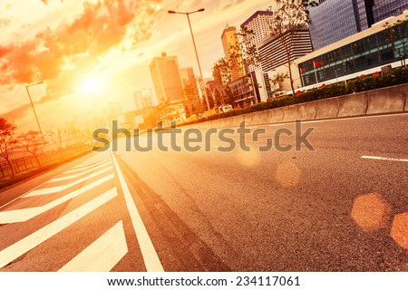 road and cityscape in modern urban city,Hongkong - stock photo