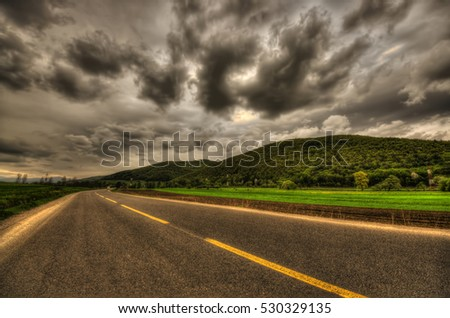 road and dark sky background