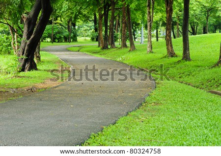 road and garden - stock photo