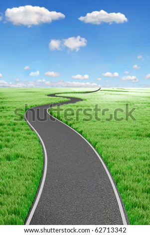 Road and green field. 3d Landscape - stock photo