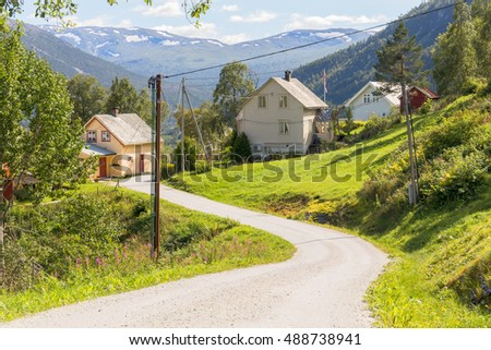 Road and hamlet around Stalheim in Hordaland, Norway