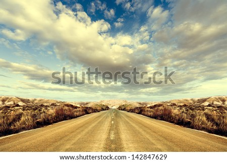 Road and landscape. Road Trips around the world - stock photo