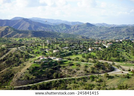 Road and mountain in Northjern Cyprus                                - stock photo
