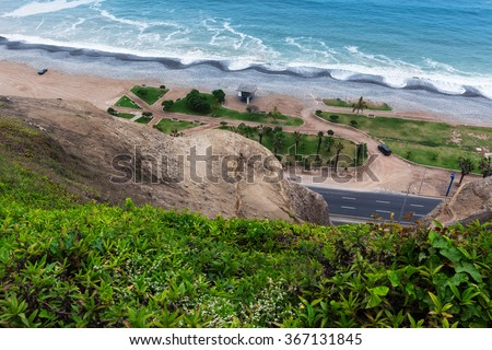 road and park on the ocean - stock photo