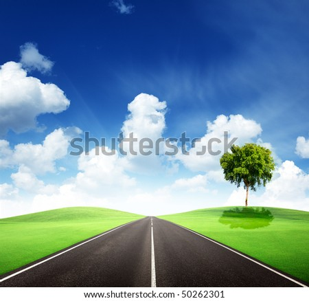 road and perfect sunny day - stock photo