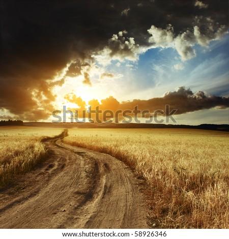 Road and sky with clouds - stock photo