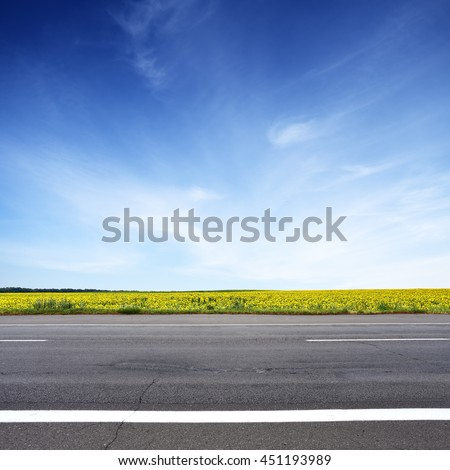 Road and sun flowers field with blue sky above. Summer landscape - stock photo