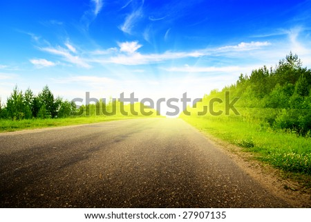 road and sunny summer day - stock photo