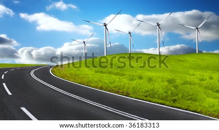 Road and wind turbines