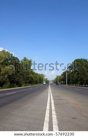 Road  asphalt  firm   covering - stock photo