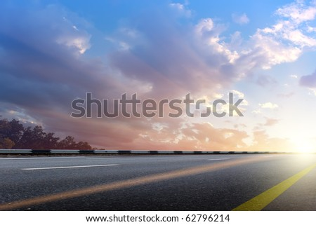 Road  asphalted  highway - stock photo