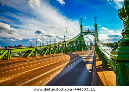 Road at freedom bridge on danube river in budapest city hungary - stock photo