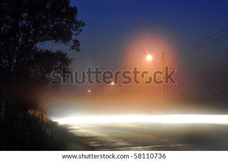 road at night with beautiful light - stock photo
