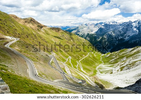 road at Passo dello Stelvio, Alto Adige, Italy - stock photo