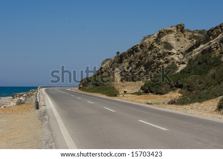 Road at Rhodes, Greece - stock photo