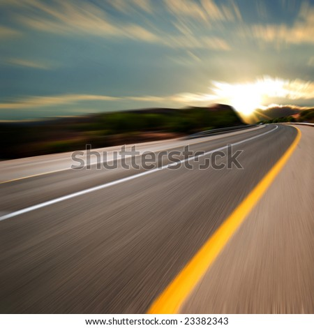 road at sunset - stock photo